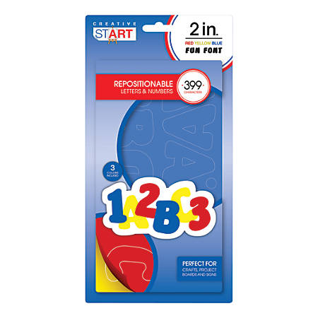 """Creative Start® Repositionable Vinyl Peel & Stick Letters And Numbers, 2"""", Block, Blue/Red/Yellow, Pack Of 399"""