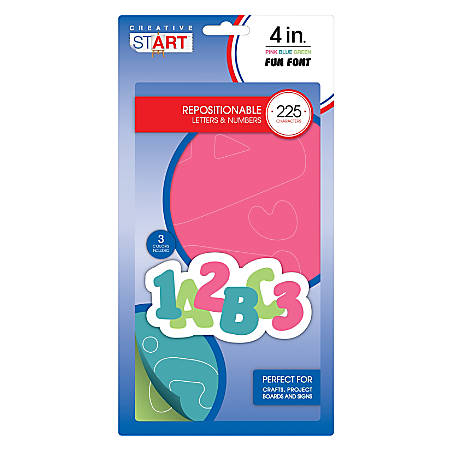 "Creative Start® Vinyl Peel & Stick Letters And Numbers, 4"", Block, Pink/Blue/Green, Pack Of 225"
