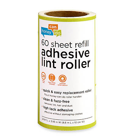 Honey-Can-Do Adhesive Lint Roller Refills, 60 Sheets Per Roll, Pack Of 6 Rolls