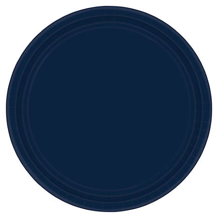"""Amscan Round Paper Plates, 9"""", True Navy, Pack of 80 Plates"""