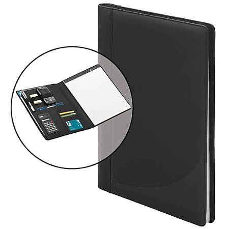 "FORAY® Faux Leather 3-Ring Padfolio With Calculator, 13 1/2""H x 11 7/16""W x 2 5/16""D, Black"