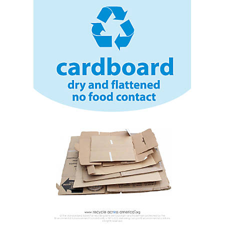 "Recycle Across America Cardboard Standardized Recycling Labels, CARD-1007, 10"" x 7"", Light Blue"