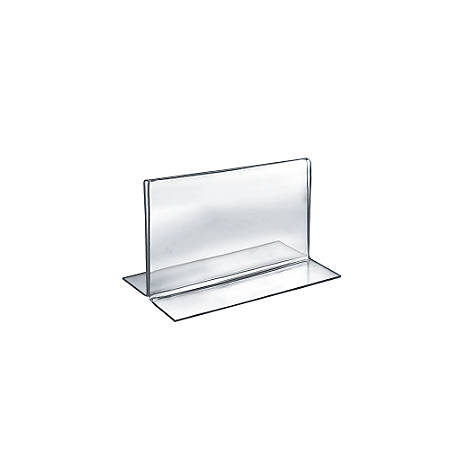 "Azar Displays Double-Foot Acrylic Sign Holders, 5"" x 7"", Clear, Pack Of 10"