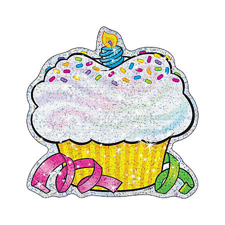 TREND Classic Accents® Sparkle Birthday Cupcake Accents, Multicolor, Pre-K - Grade 8, Pack Of 24