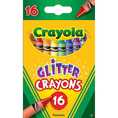 Crayola® Glitter Crayons, Assorted, Pack Of 16