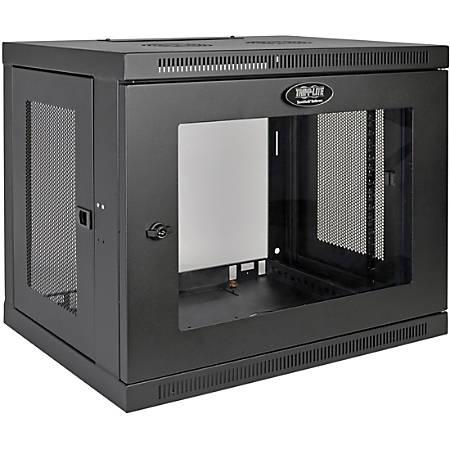 "Tripp Lite 9U Wall Mount Rack Enclosure Server Cabinet w/ Acrylic Glass Front Door - For LAN Switch - 9U Rack Height x 19"" Rack Width x 16.50"" Rack Depth - Wall Mountable - Black - Plexiglass - 200 lb Maximum Weight Capacity"