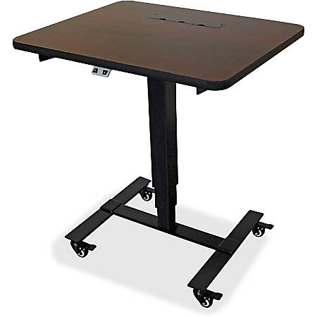Lorell® Electric Mobile Sit-To-Stand Desk, Black/Mahogany