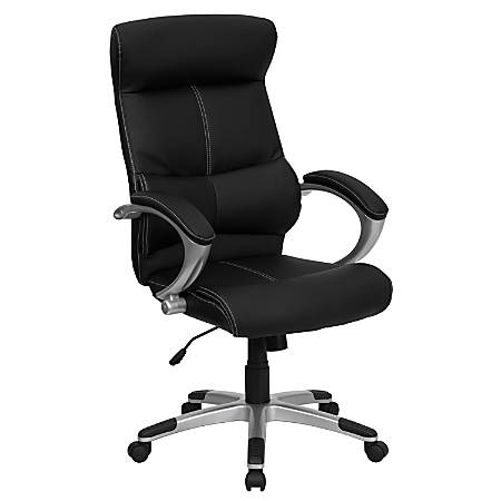 Flash Furniture Leather High-Back Swivel Chair, Black/Silver