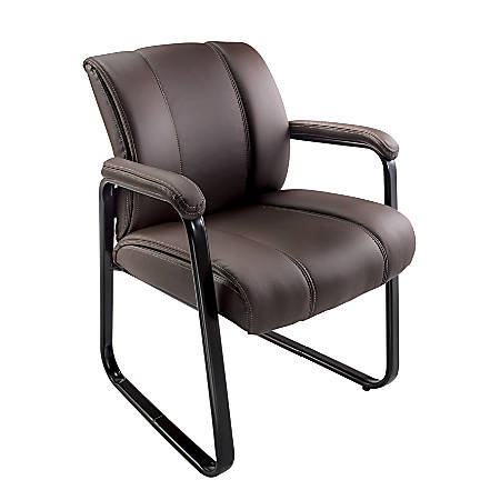 Brenton Studio® Bellanca Bonded Leather Mid-Back Guest Chair, Brown
