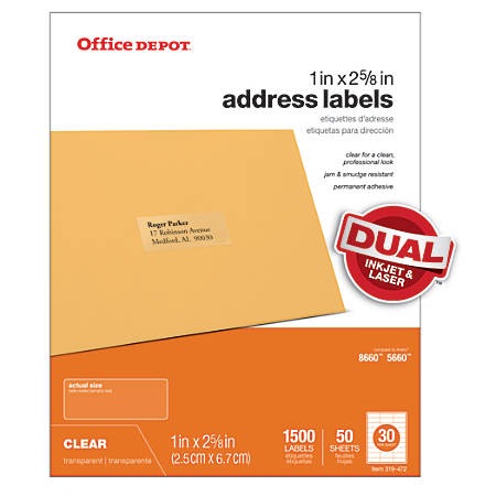 "Office Depot® Brand Address Labels, OD99312, 1"" x 2 5/8"", Clear, Pack Of 1,500"