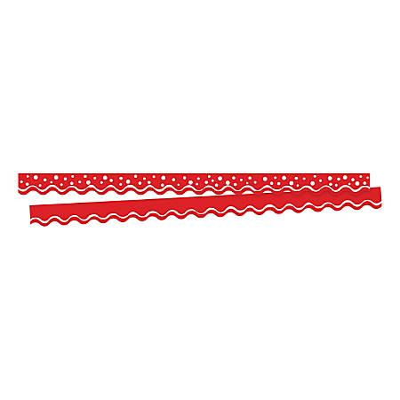 "Barker Creek Scalloped-Edge Border Strips, 2 1/4"" x 36"", Happy Cherry, Pre-K To College, Pack Of 26"