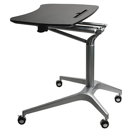 Lorell® Height-Adjustable Mobile Sit-To-Stand Desk, Black