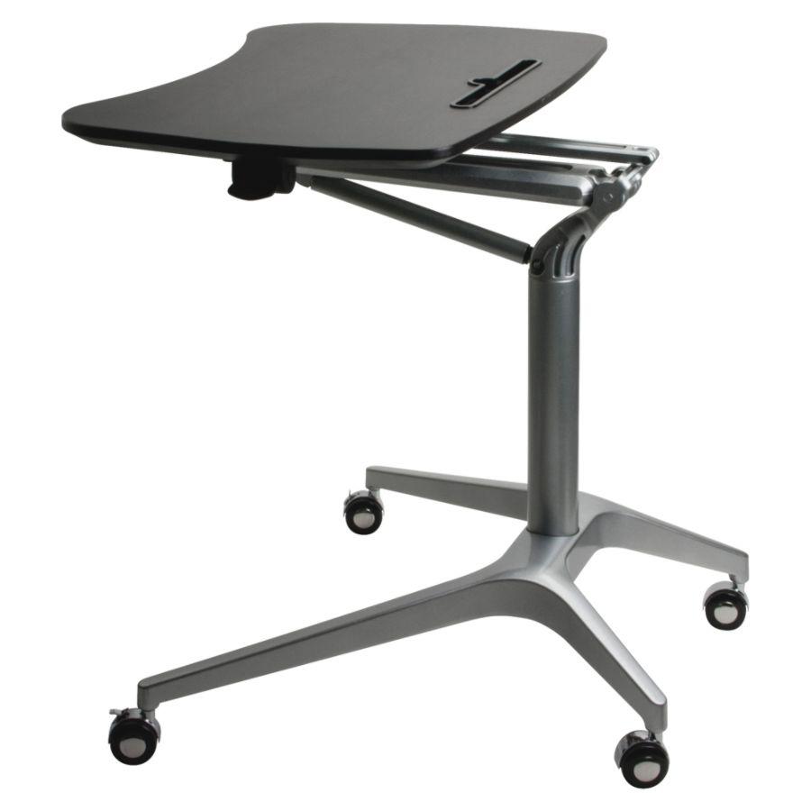 lorell height adjustable mobile sit to stand desk black office depot rh officedepot com office depot standing desk uk l shaped standing desk office depot