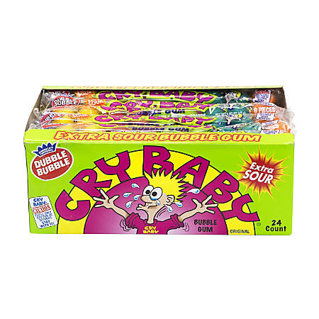 Cry Baby Extra-Sour Bubble Gum, Assorted Flavors, 9 Pieces Per Box, Case Of 24 Boxes