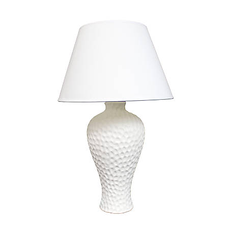 "Simple Designs Curvy Ceramic Table Lamp, 19 1/2""H, White Shade/White Base"
