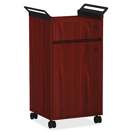Lorell® Mobile Storage Cabinet, Small, Mahogany