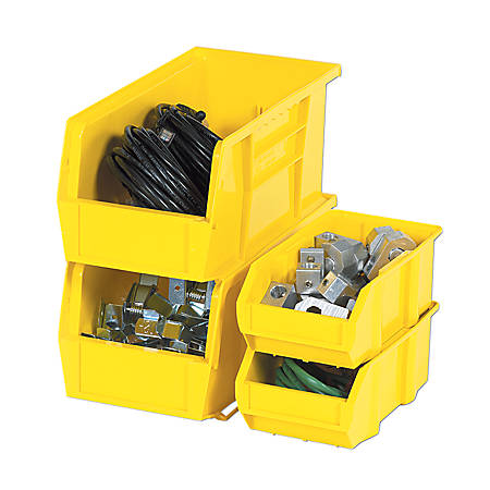 """B O X Packaging Plastic Stackable Bin Boxes, 10 7/8"""" x 5 1/2"""" x 5"""", Yellow, Pack Of 12"""
