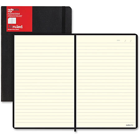 Rediform L5 Ruled Notebooks - Sewn - Black Cover - Elastic Closure, Flexible Cover, Pocket - 1 / Each