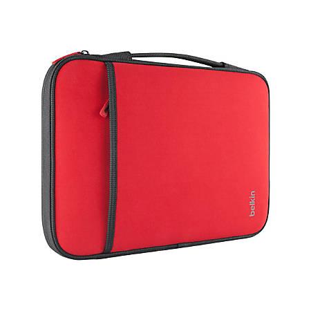 """Belkin Carrying Case (Sleeve) 11"""" Netbook - Red - Wear Resistant - Neopro, Fleece Interior - Handle - 8"""" Height x 12.6"""" Width x 0.8"""" Depth"""
