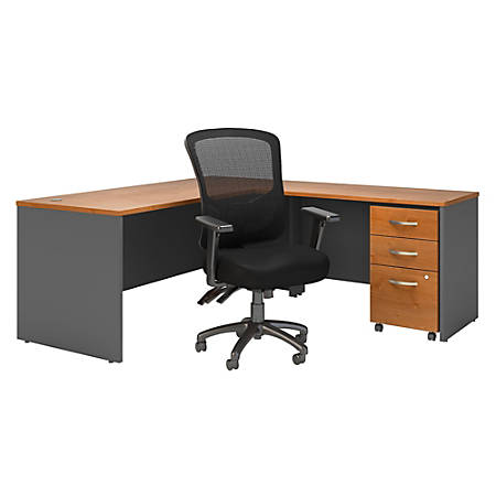 "Bush Business Furniture Components 72""W L-Shaped Desk With Mobile File Cabinet And High-Back Multifunction Office Chair, Natural Cherry/Graphite Gray, Premium Installation"