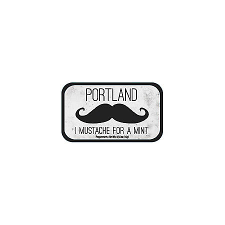AmuseMints® Destination Mint Candy, Mustache Mints Portland, 0.56 Oz, Pack Of 24