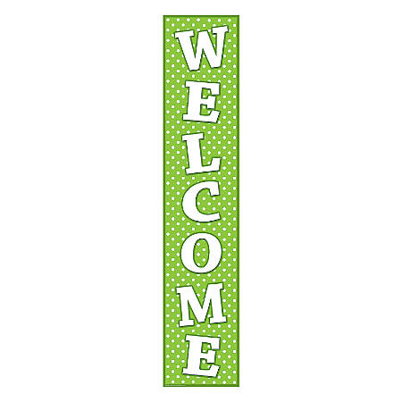 """Teacher Created Resources Welcome Banner, Lime Polka Dots, 8"""" x 39"""", Green/White, Pre-K - College"""