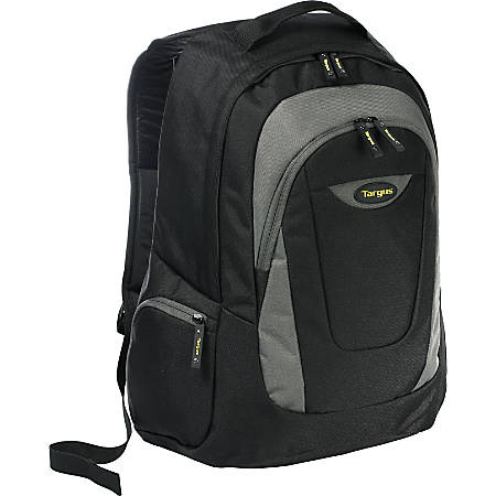 """Targus Trek Carrying Case (Backpack) for 16"""" Notebook - Black, Yellow, White Accent - Polyester - Shoulder Strap - 18.9"""" Height x 13"""" Width x 7.1"""" Depth"""