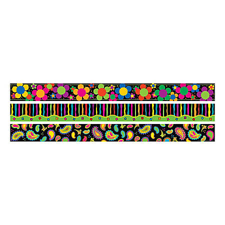"""Barker Creek Straight-Trim Border Sets, 3"""" x 35"""", Neon, Pre-K To College, Pack Of 36"""