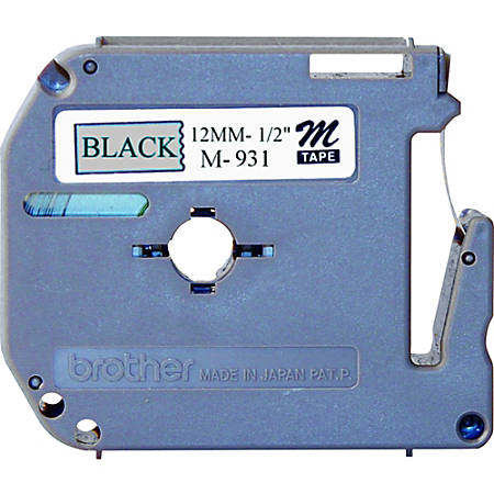 """Brother® M-931 Black-On-Silver Tape, 0.5"""" x 26.2'"""
