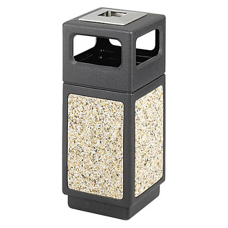 Safco® Canmeleon™ Stone Aggregate Panel Ash Urn, Side Opening, 15 Gallons, Black/Aggregate