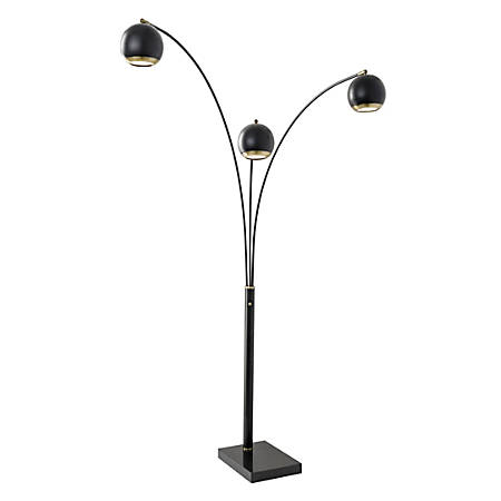 "Adesso® Quincy Arc Floor Lamp, 76"", Black Shade/Black/Brass Base"