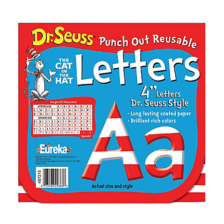 """Eureka Reusable Punch-Out Deco Letters, 4"""", Dr. Seuss™ Stripes, Red/White, Pre-K - Grade 12, Pack Of 217"""