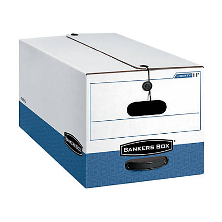 """Bankers Box® Liberty® FastFold™ 60% Recycled Storage Boxes, 24"""" x 12"""" x 10"""", Letter, White/Blue, Pack Of 12"""