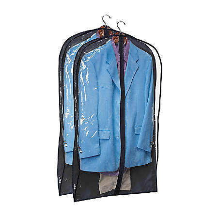 """Honey-Can-Do Hanging Garment Suit Storage Bags, 42""""H x 24""""W x 3""""D, Black, Pack Of 2"""