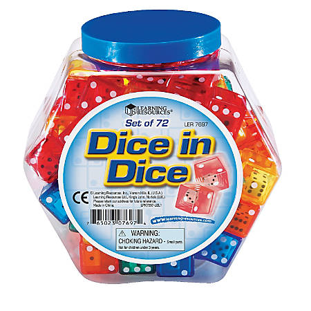 Learning Resources® Dice, Assorted Colors, Grades Pre-K - 5, Pack Of 72