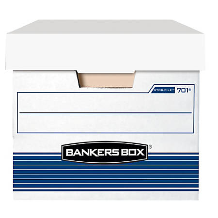 "Bankers Box® Stor/File™ Storage Boxes, Lift-Off Lid, 24"" x 12"" x 10"", Letter, 60% Recycled, White/Blue, Pack Of 12"