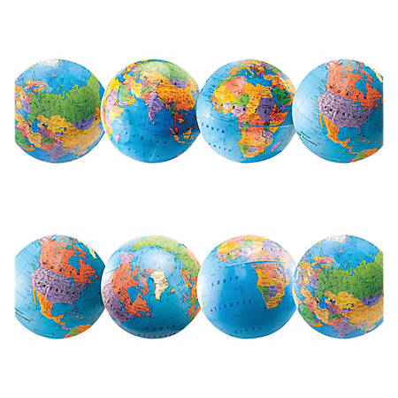 """Hygloss Globe Design Border Strips - 12 (Globe) Shape - Damage Resistant, Durable, Long Lasting - 36"""" Height x 3"""" Width - Assorted - 12 / Pack"""