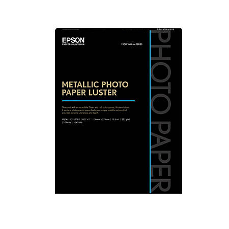 "Epson® Metallic Photo Paper, 8 1/2"" x 11"", 68 lb, White, 25 Sheets Per Ream"