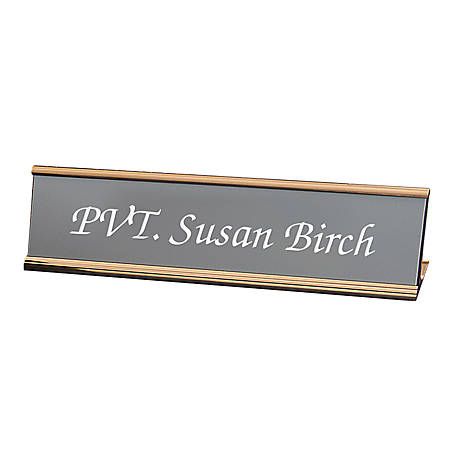 "Custom Engraved Plastic Desk Signs With Slide-in Metal Holder, 2"" x 8"""