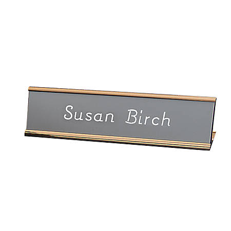 """Engraved Desk Sign, Wrap Around Metal Desk Holder With Acrylic Engraved Sign, 2"""" x 10"""""""