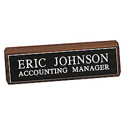 Engraved Desk Sign Walnut Base With