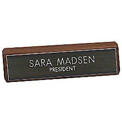 Engraved Desk Sign Walnut Base With