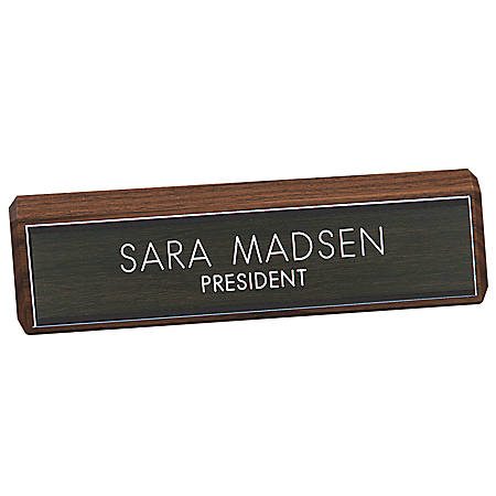 "Engraved Desk Sign, Walnut Base With Acrylic Engraved Sign, 2"" x 10"""