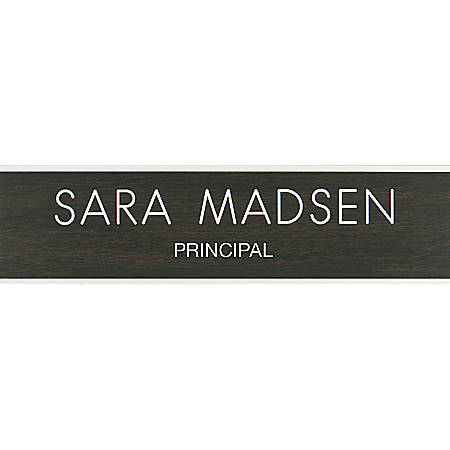 """Custom Engraved Plastic Wall Signs With Slide-in Metal Flush Wall Mount, 2"""" x 8"""""""