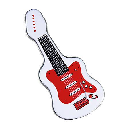 AmuseMints® Sugar-Free Mints, Electric Guitar Tin, White/Red, Pack Of 24