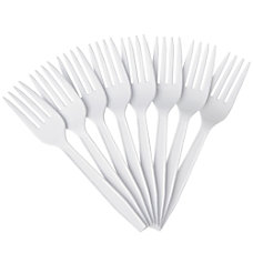 Highmark Medium Size Plastic Forks White