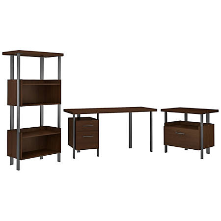 """Bush Furniture Architect 60""""W Writing Desk With Lateral File Cabinet And 4-Shelf Bookcase, Modern Walnut, Standard Delivery"""