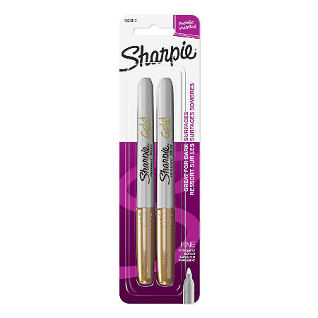 Sharpie® Metallic Markers, Gold, Pack Of 2 Markers