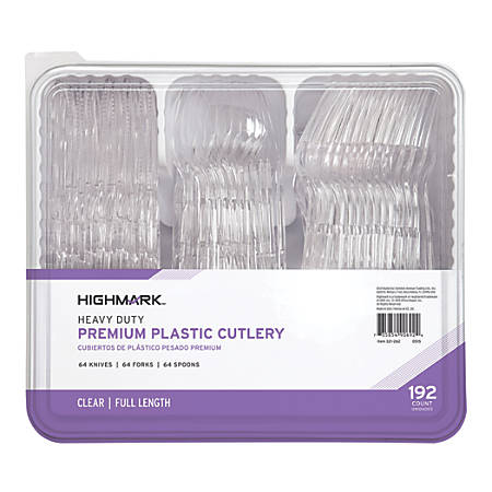 Highmark® Heavy-Duty Plastic Cutlery, Clear, Pack Of 192 Utensils