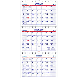 at a glance 3 month wall calendar 12 x 26 12 60percent recycled